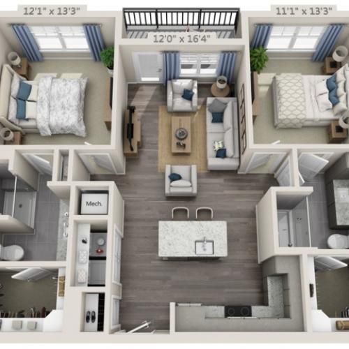 B1 | 2 bed 2 bath | from 1045 square feet