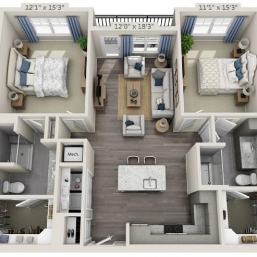 B1A | 2 bed 2 bath | from 1117 square feet