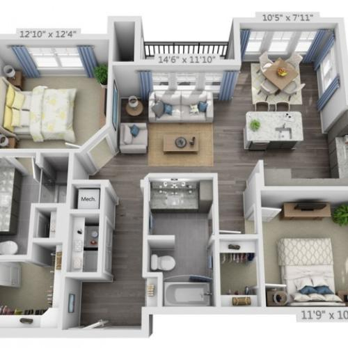 B2 | 2 bed 2 bath | from 1134 square feet