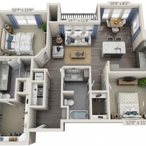 B2B | 2 bed 2 bath | from 1163 square feet