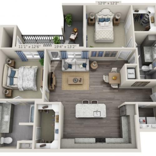 B3 | 2 bed 2 bath | from 1181 square feet
