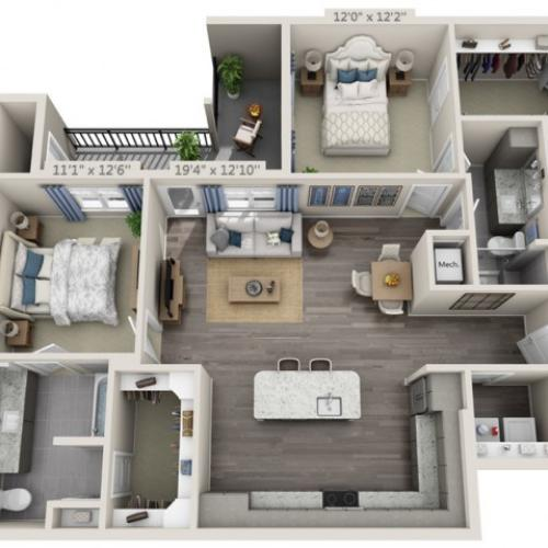 B3A | 2 bed 2 bath | from 1223 square feet