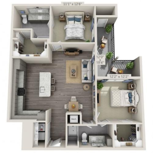 B3 HC | 2 bed 2 bath | from 1165 square feet