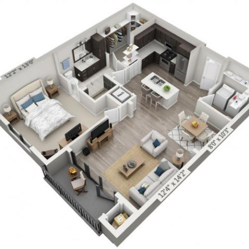 A2 | 1 bed 1 bath | from 842 square feet