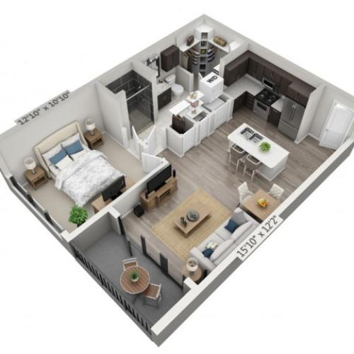 A6 | 1 bed 1 bath | from 698 square feet
