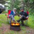 Couple siting by fire
