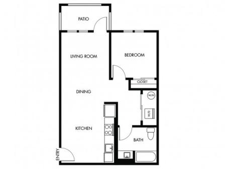 1 Bedroom 1 Bath - B