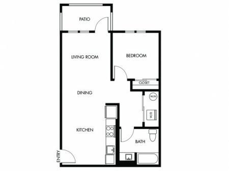 1 Bedroom 1 Bath - B
