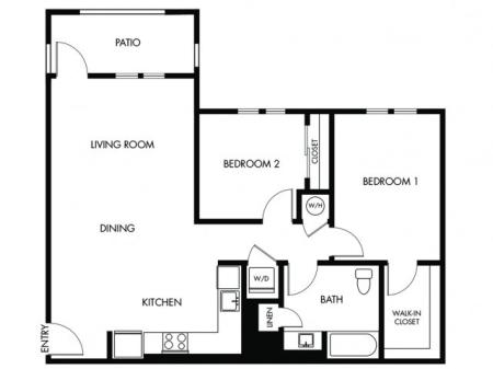 2 Bedroom 1 Bath - E