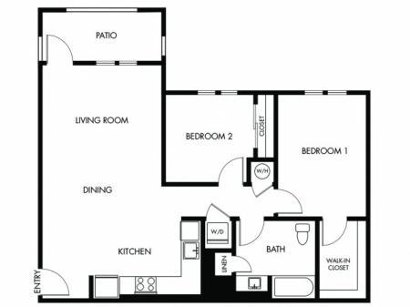 2 Bedroom 1 Bath - E