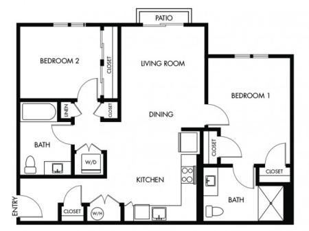2 Bedroom 2 Bath - F