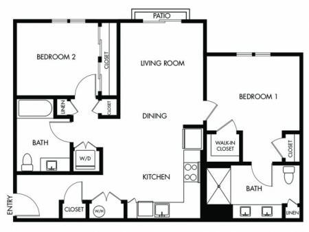 2 Bedroom 2 Bath - H