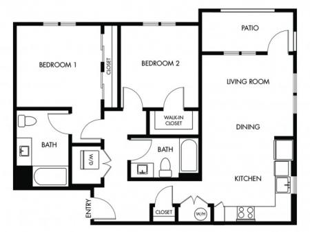 2 Bedroom 2 Bath - J