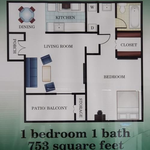 1 bedroom 1 bathroom 753 sq. ft