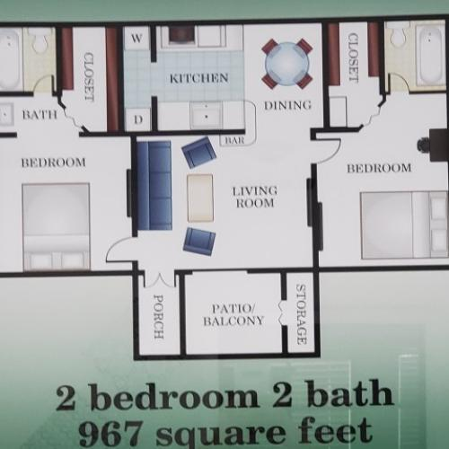 2 bedroom 2 bathroom 967 sq. ft