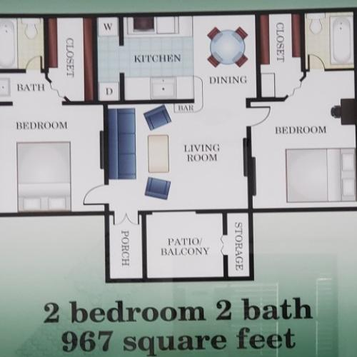 2 bedroom 2 bathroom 967 sq ft