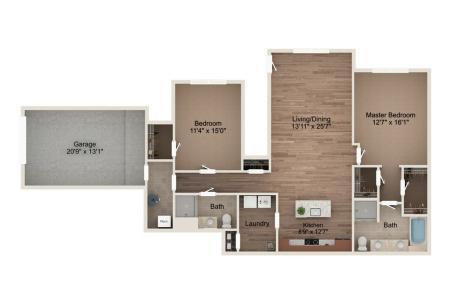 2 Bedroom - Downstairs