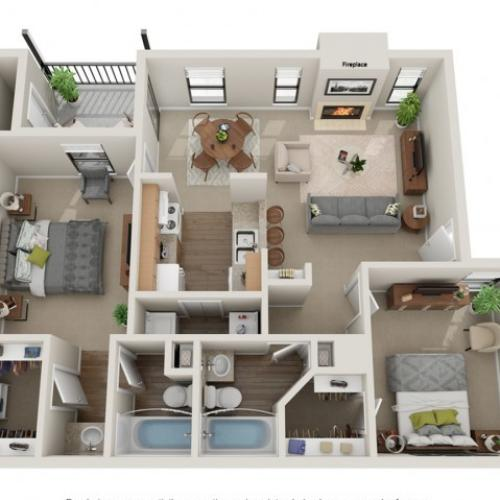Triple Crown Floorplan | Vanderbilt Apartments