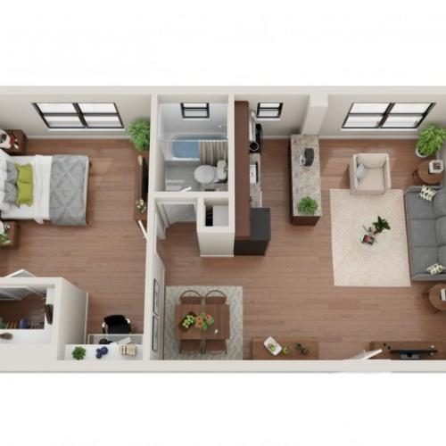 1 Bedroom Floor Plan | Apartments In St Louis | Convent Gardens
