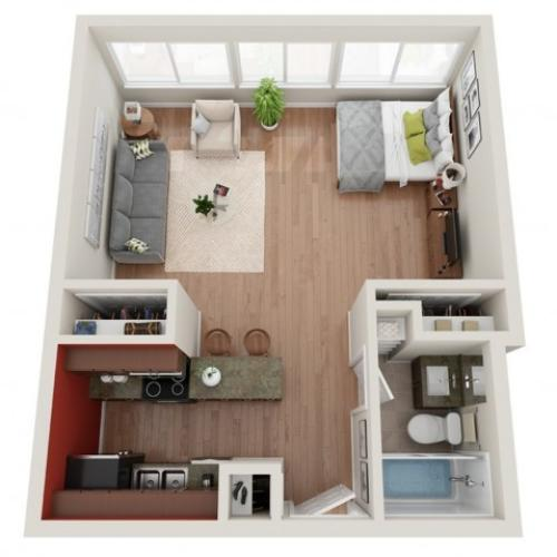 Studio Floor Plan | Apartments St. Louis | Del Coronado