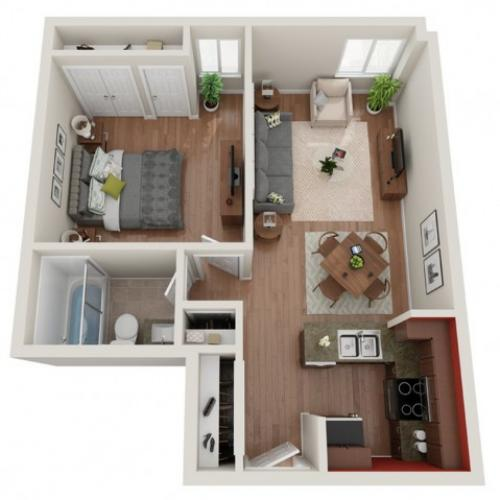 1 Bdrm Floor Plan | 1 Bedroom Apartments In St. Louis | Del Coronado