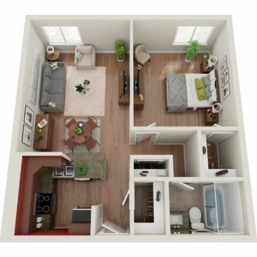 1 Bedroom Floor Plan | St. Louis Apartments | Del Coronado