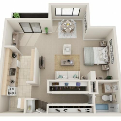 Studio Floorplans | Fontainebleau Apartments | St. Louis Apartments