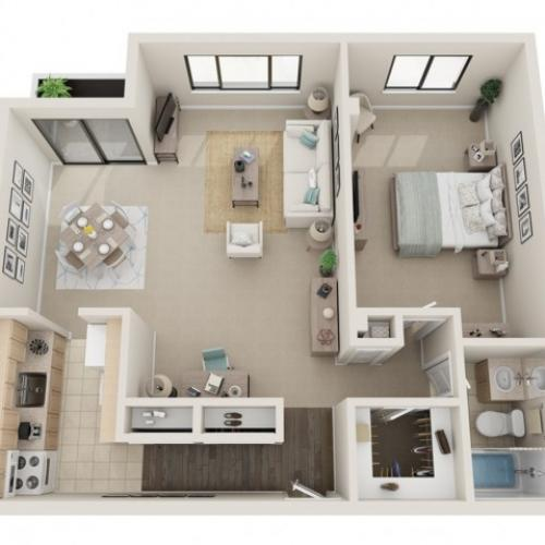 1 Bedroom Floorplan | Fontainebleau Apartments | St. Louis Apartments