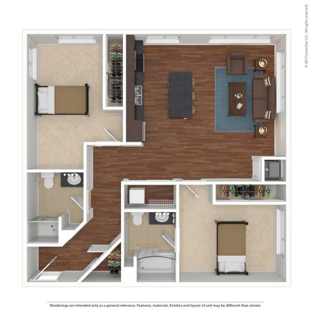 2 Bed, 2 Bath Large Private