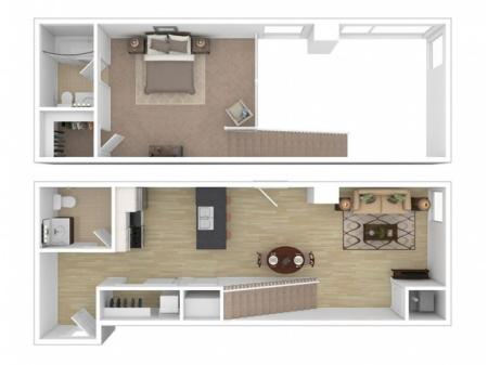 1 Bed, 1.5 Bath Townhome