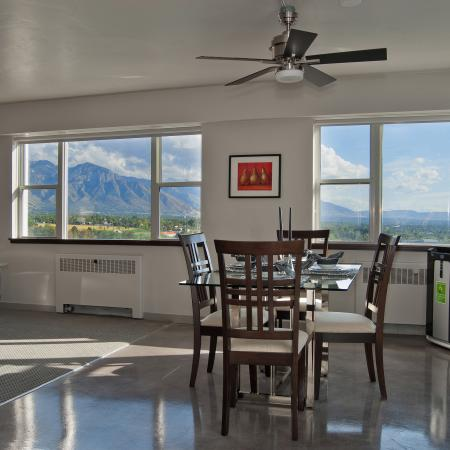 The Landing Apartments Furnished Apartment Dining Room And Scenic Views of Salt Lake City