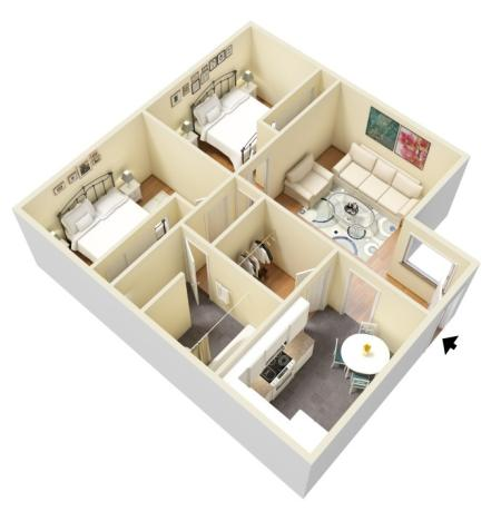 2 Bed 1 Bath Interior