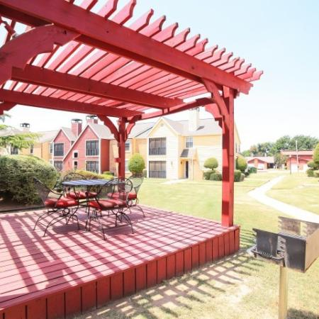 Post Oak Apartments Lifestyle - BBQ Grill And Picnic Area