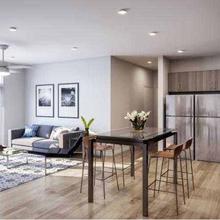 Logan And Chamberlain Off-Campus Apartments Near North Carolina State University Furnished Apartment Kitchen And Living Room