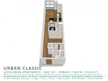 1 Bed 1 Bath Urban Classic
