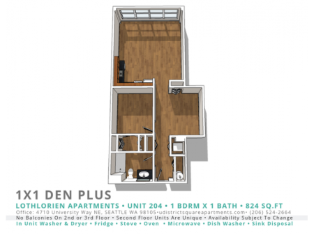 1 Bed 1 Bath Den Plus