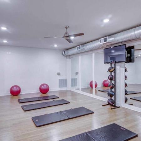 Catalyst, interior, fitness center, yoga room, tv, mirrors,