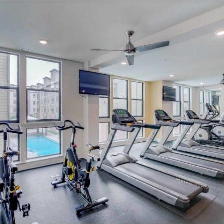Catalyst, interior, fitness center, bikes, treadmills, tvs, large windows, ceiling fans, elliptical