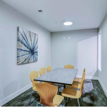 Catalyst, interior, conference room, table, yellow chairs, carpet, window, wall art