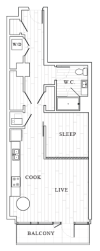 1 Bedroom Floor Plan | Tower at OPOP Apartments | Apartments in St. Louis MO