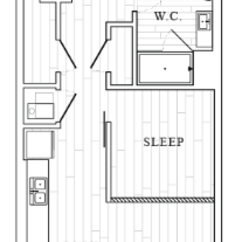 Studio Bedroom Floor Plan at Tower at OPOP Apartments | Apartments in St. Louis MO