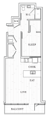 1 Bedroom Floor Plan | Tower at OPOP Apartments | Apartments in St. Louis MO 2D