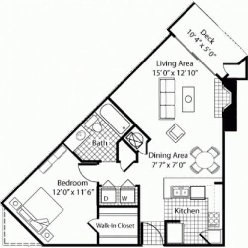 A2 - 1 Bed 1 Bath - 713sqft