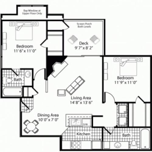 B2 - 2 Bed 2 Bath - 1000sqft