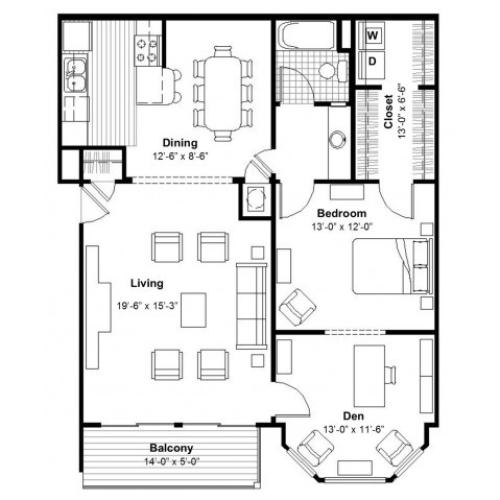 One Bedroom with Den  | Apartments Kansas City, MO | Union Hill Place