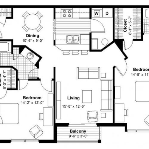 Two Bedroom Floor Plan  | Apartments Kansas City, MO | Union Hill Place