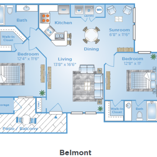 2 Bedroom Floor Plan | Orlando FL Apartments | Polos East