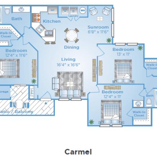 3 Bedroom Floor Plan | Apartments In Orlando FL | Polos East