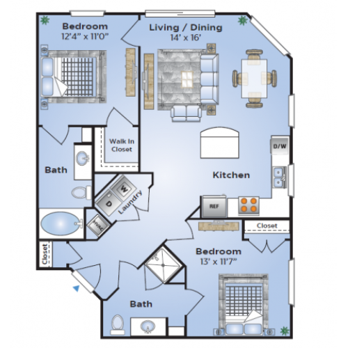 2 Bedroom Floor Plan | Apartments In Birmingham AL| Station 121