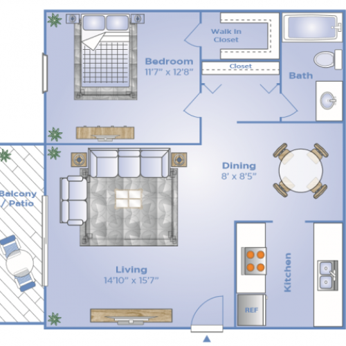 1 Bedroom Floor Plan | Altamonte Springs Apartments | Magnolia